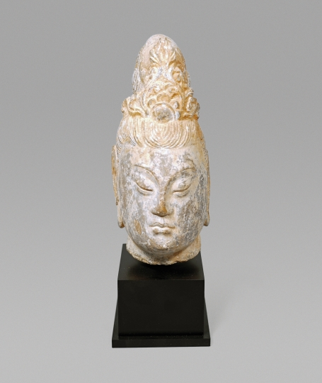Chinese Carved Stone Head of a Bodhisattva