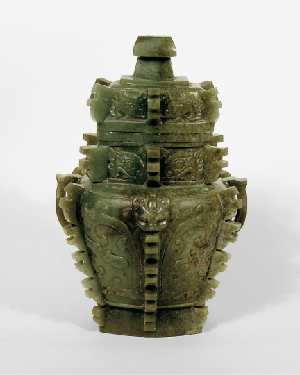 Chinese Carved Jade Archaistic Vase and Cover