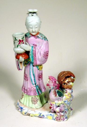 Chinese Export Porcelain Figural Candleholder