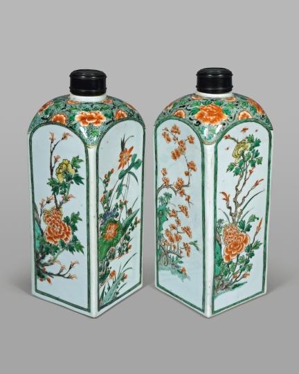 Pair of Chinese Famille Verte Porcelain Quadrangular Bottles