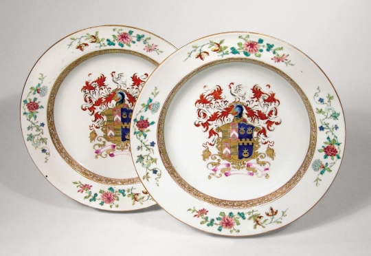 Pair of Chinese Armorial Porcelain Soup Bowls