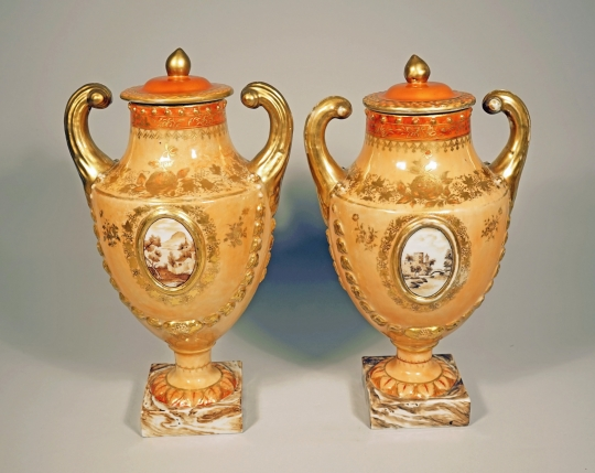 """Pair of Chinese Export Peach-Toned Covered """"Pistol Handled"""" Urns"""
