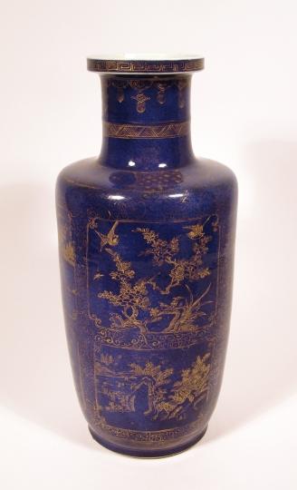 Fine Chinese Powder Blue Glazed Porcelain Rouleau Vase