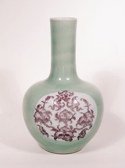 Chinese Celadon and Underglaze Red Porcelain Bottle Vase