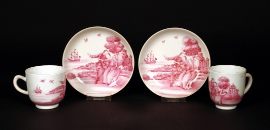 Very Rare Pair of Chinese Export Puce Decorated Cups and Saucers, American Market