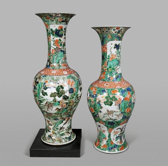 Very Rare Pair of Large Chinese Famille Verte Porcelain Beaker Vases