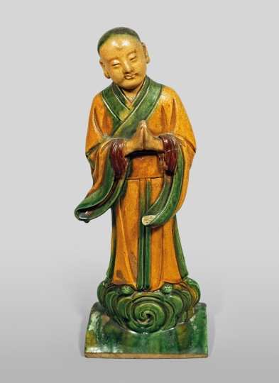 Chinese Sancai Glazed Figural Rooftile of the Buddhist Patriarch Ananda