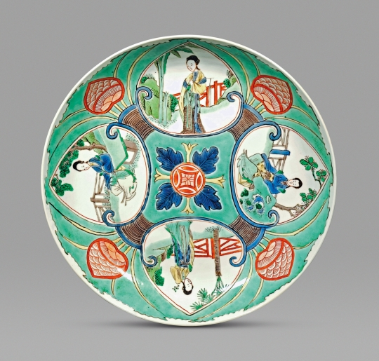 Rare Chinese Green Ground Famille Verte Porcelain Plate