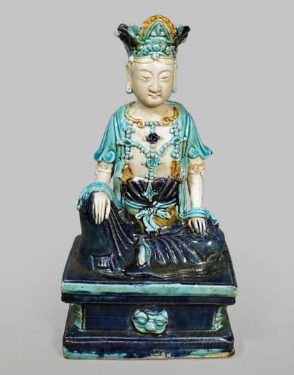 Rare Chinese Fahua Glazed Figure of a Bodhisattva