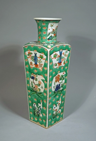 Rare Chinese Famille Verte Green Ground Square Porcelain Vase