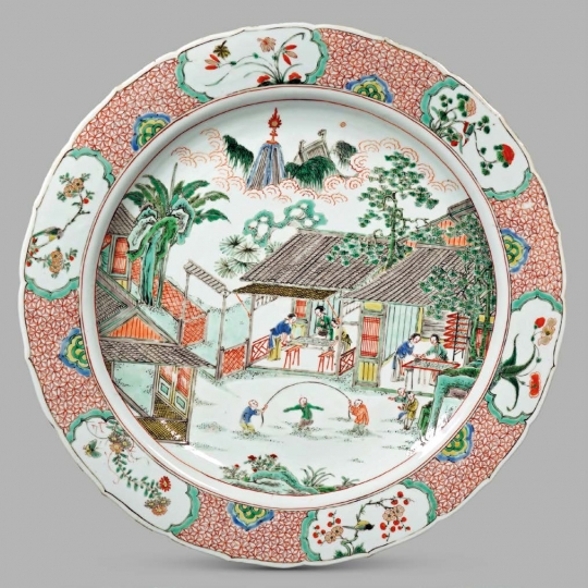 Rare Chinese Famille Verte Porcelain Silk Culture Plate