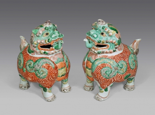Pair of Chinese Famille Verte and Rouge de Fer Glazed Porcelain Qilin Ewers