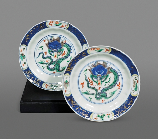 Pair of Chinese Famille Verte Porcelain Dishes