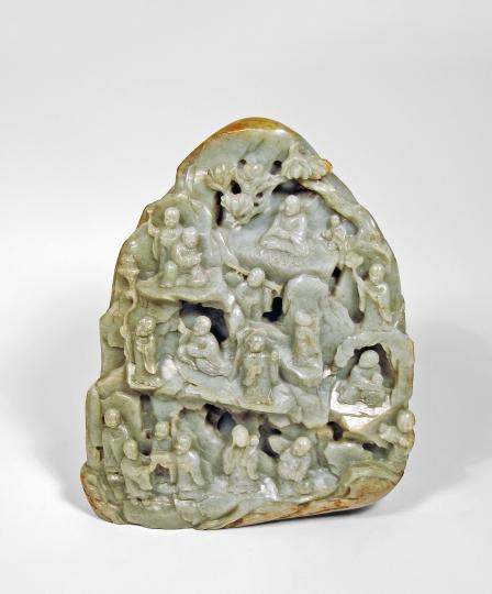 Large Chinese Carved Jade Boulder
