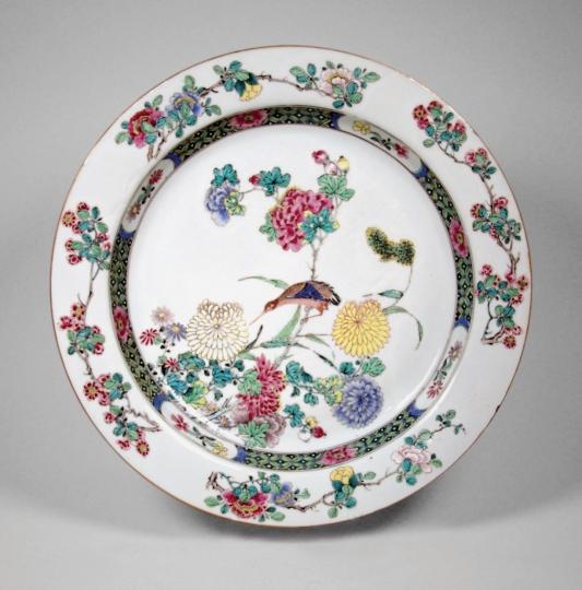 Fine Chinese Rose Verte Porcelain Plate