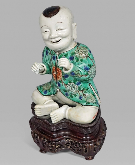 Fine Chinese Famille Verte Glazed Biscuit Porcelain Seated Boy