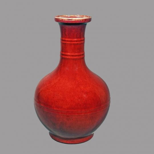 Chinese Deep Red Flambe Glazed String Neck Bottle Vase