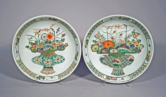 Very Fine Pair of Chinese Famille Verte Porcelain Plates