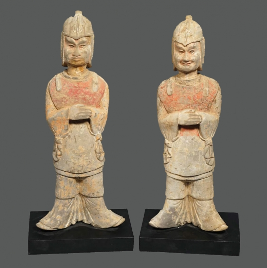 Fine Pair of Chinese Unglazed Pottery Standing Guardian Figures