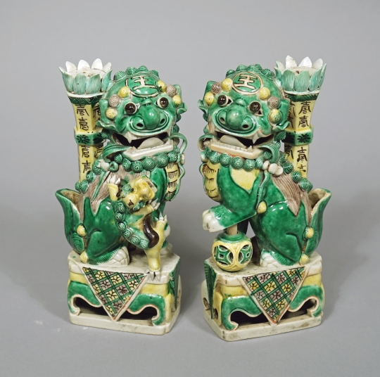 Pair of Chinese Famille Verte Glazed Biscuit Porcelain Fu Dogs