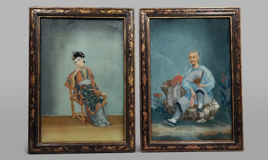 Fine Pair of Chinese Reverse Glass Paintings