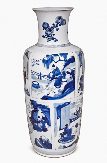 Very Rare Chinese Blue and White Porcelain Rouleau Vase