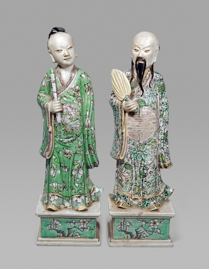 Very Fine Pair of Chinese Verte Glazed Biscuit Porcelain Figures of Immortals