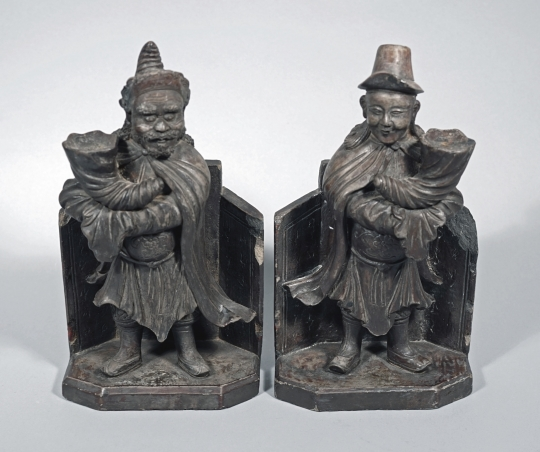 Rare Pair of Chinese Black Stoneware Figural Pricket Candle Holders