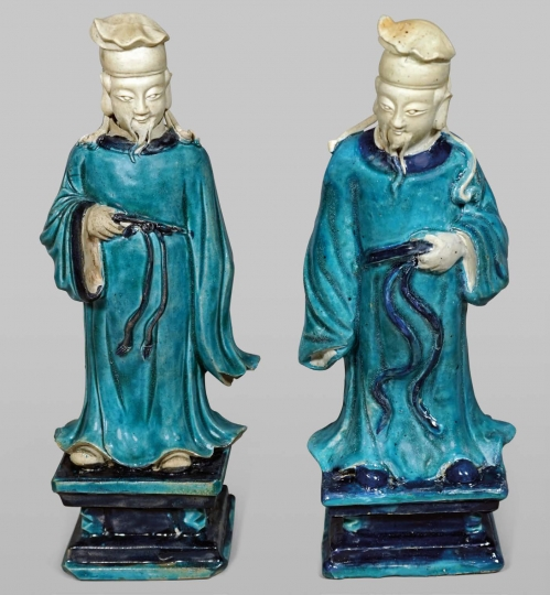 Pair of Chinese Fahua Glazed Stoneware Figures of Officials