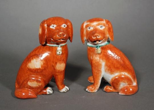 Pair of Chinese Rouge de Fer Glazed Porcelain Spaniels