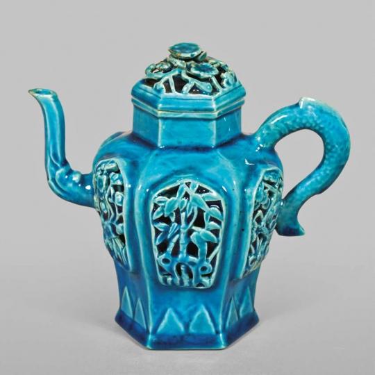 Chinese Turquoise Glazed Porcelain Teapot