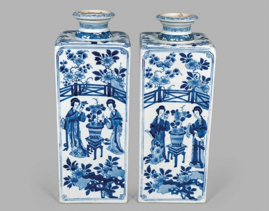 Pair of Chinese Export Blue and White Porcelain Quadrangular Bottles