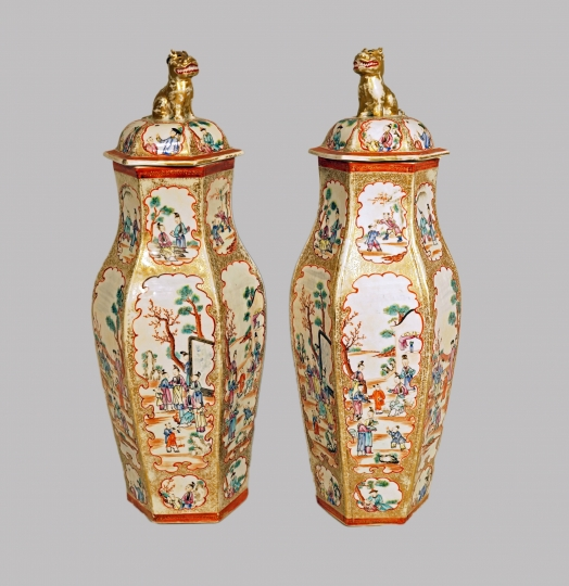 Pair of Chinese Famille Rose Hexagonal Covered Vases