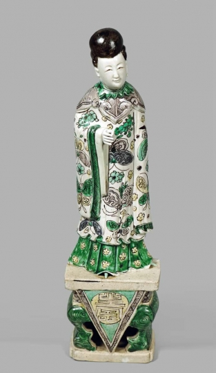 Rare Chinese Fammille Verte Glazed Biscuit Porcelain Figure of Lan Caihe