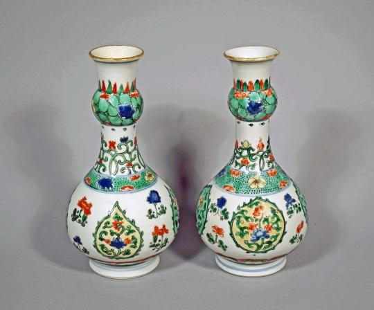 Pair of Chinese Famille Verte Porcelain Garlic Mouth Vases