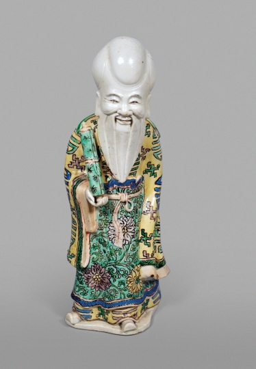 Chinese Glazed Biscuit Porcelain Figure of Shoulao