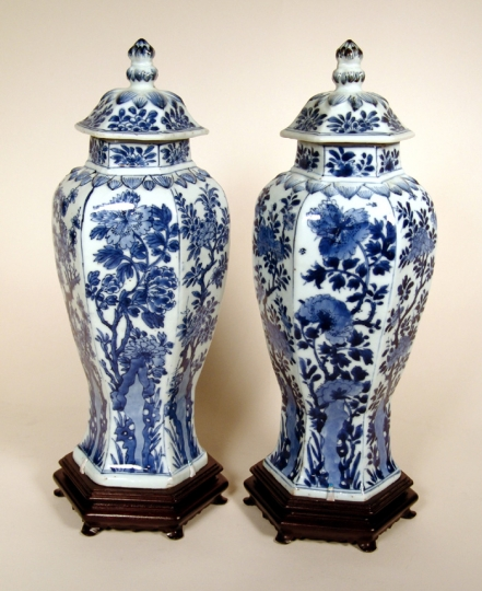 Rare Pair of Chinese Blue and White Porcelain Vases and Covers