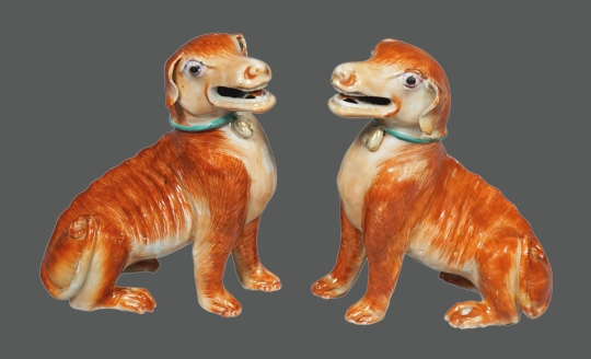 Superb Pair of Chinese Rouge de Fer Porcelain Seated Hounds