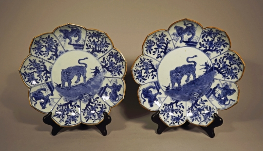 Pair of Chinese Blue and White Porcelain Plates