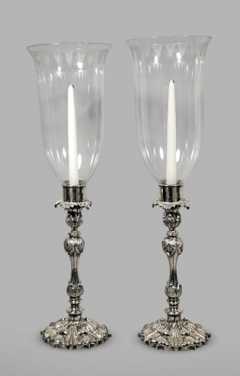 Very Rare Pair of Chinese Export Silver Candlesticks