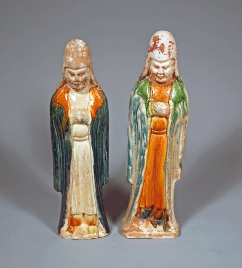 Pair of Chinese Blue and Sancai Glazed Pottery Officials