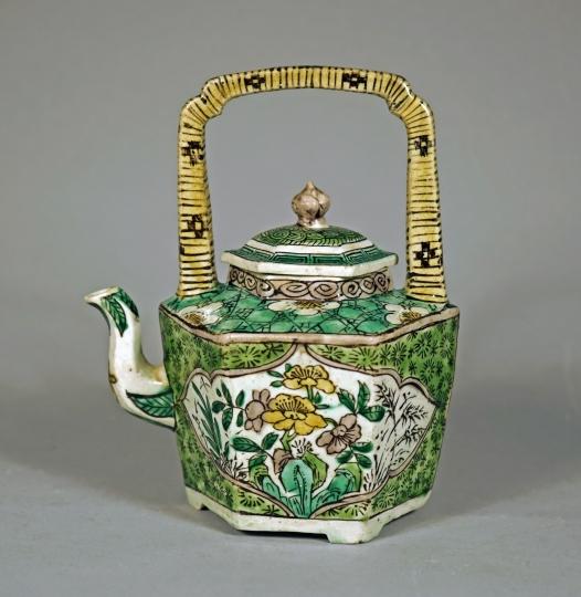 Chinese Sancai Glazed Biscuit Porcelain Teapot
