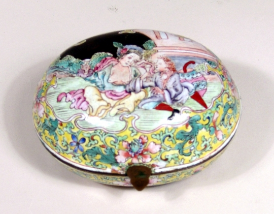 Rare Canton Enamel Oval Box