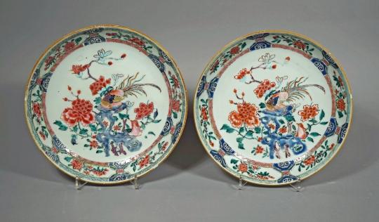 Fine Pair of Famille Rose Porcelain Plates