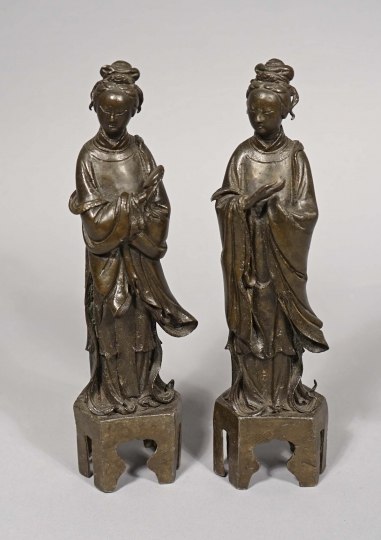 Pair of Chinese Bronze Figures of Standing Ladies