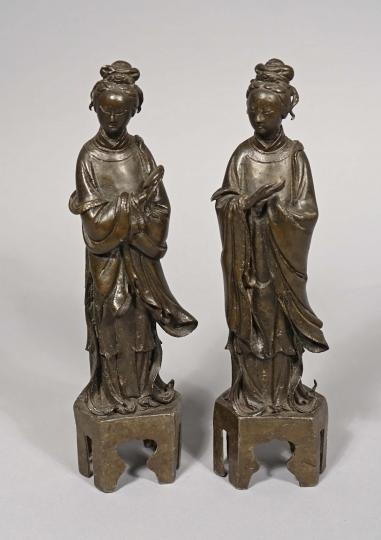 Pair of Chinese Bronze Figures of Standing Ladies