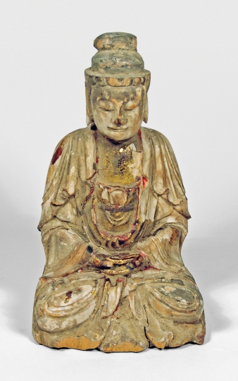 Chinese Carved Wood Figure of a Seated Buddha