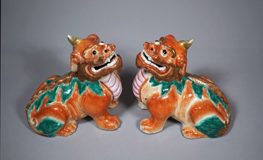 Pair of Chinese Rouge de Fer Glazed Mythical Animals