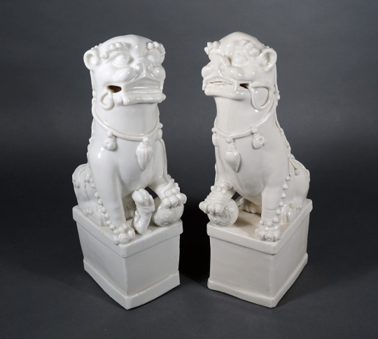 Pair of Chinese Blanc de Chine Fu Lions