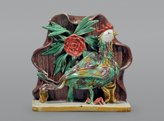 Rare Chinese Glazed Biscuit Porcelain Figural Group of a Phoenix in a Grotto